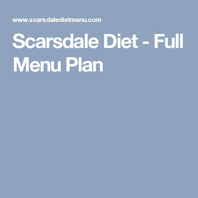 Scarsdale Diet - Full Menu Plan