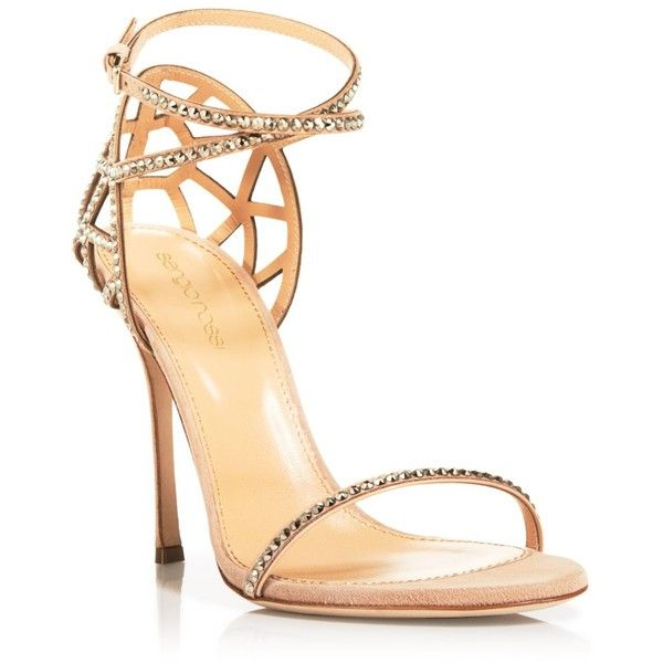 Sergio Rossi Strappy Evening Sandals (20,200 MXN) ❤ liked on Polyvore featuring shoes, sandals, heels, calçados, pumps, nude, strappy heel sandals, sparkly sandals, strappy sandals and nude heel sandals