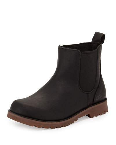 UGG Callum Leather Chelsea Boot, Black, Youth