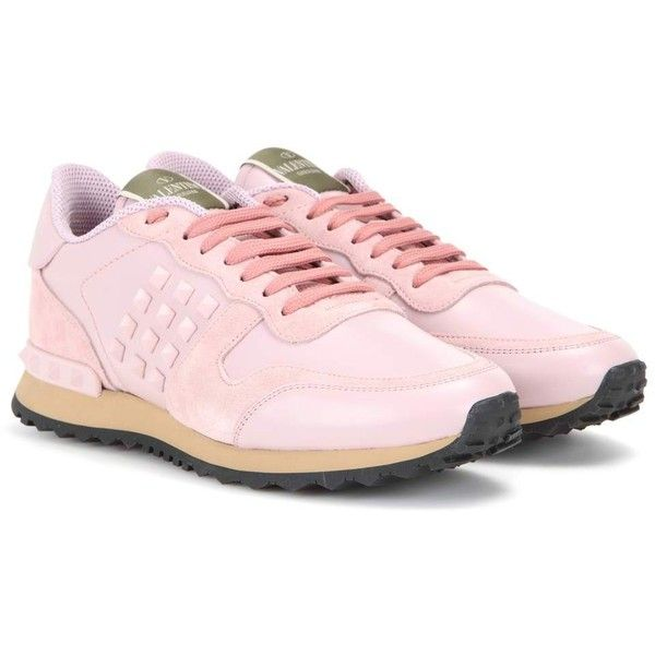 Valentino Rockrunner Suede and Leather Sneakers ($695) ❤ liked on Polyvore featuring shoes, sneakers, pink, leather shoes, suede sneakers, leather trainers, valentino trainers and pink shoes