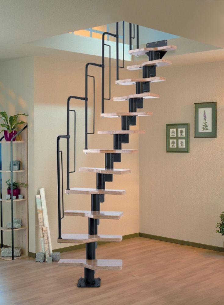 Dolle Graz Space Saver Spiral Loft Staircase Kit Black