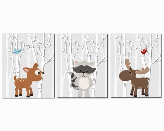 Woodland Animal Nursery Forest Animals Nursery Art Kids
