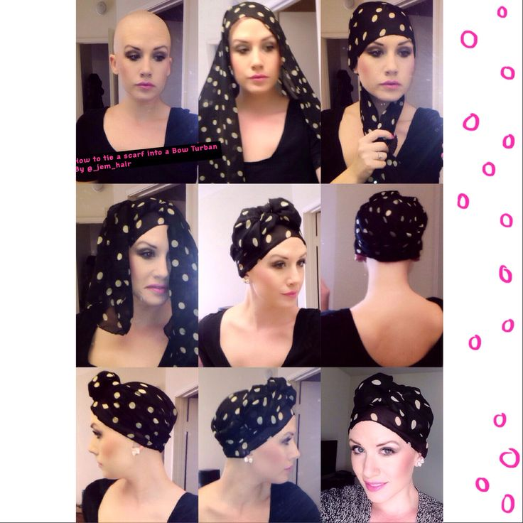 #diy #bowturban  1. Place half of the scarf in the back of your head & half on the desired part of your forehead  2. Criss cross the back pieces to the front pull them up  3. Tie a knot 4. Then proceed on tying a bow. 5. Then tuck the sides under the extra fabric you brought up in number 2! Then fiddle and play with your Bow making it as big or as small by tucking or putting a few bobby pins in it. And there you go you've got yourself the cutest lil now turban ever. #jemsbreastcancerfight