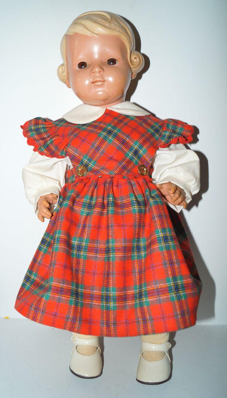 alte Schildkröt Puppe Inge 49 cm Schlafaugen silberblond Celluloid mit Kleid • For Sale 129.00 EUR