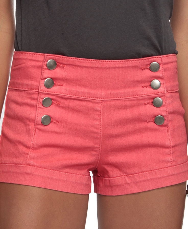 coral high waisted shorts: Pink Shorts, Summer Fashion, Sailors Shorts, Dreams Closet, Cute Shorts, Buttons, Highwaist, Coral Shorts, High Waist Shorts