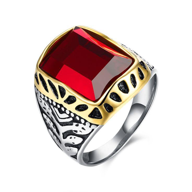 European Style Zircon Men Rings Titanium Steel Red Crystal Ring Rock Punk Rings for Men Birthday Gift Men Rings #Affiliate