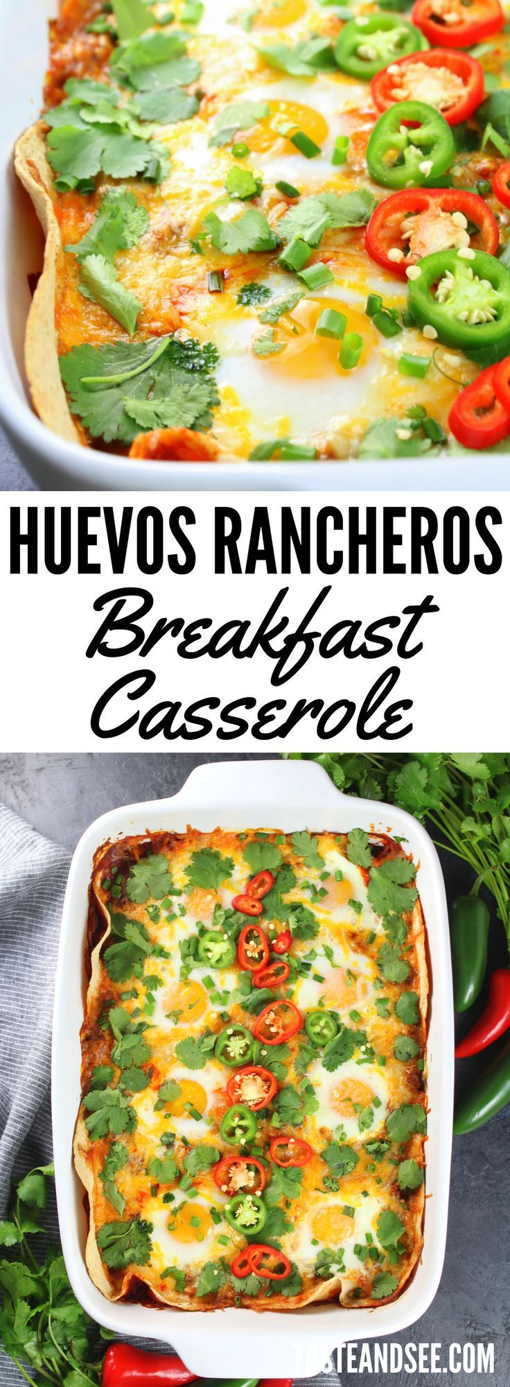 Huevos Rancheros Breakfast Casserole = all-in-one scrumptious #breakfast  casserole.  Full of healthy goodness and tons of yummy #mexican  flavors! https://tasteandsee.com