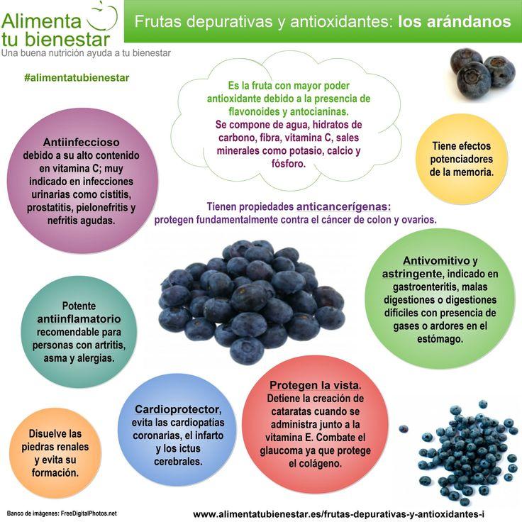 #Infografia Frutas depurativas y antioxidantes: los Arándanos #alimentatubienestar