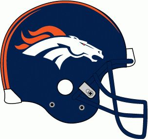 Denver Broncos Helmet Logo (1997- present) Navy helmet, white bronco logo with orange stripes, navy facemask