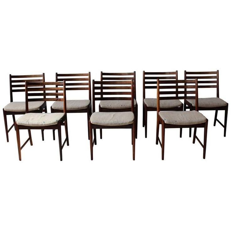 Set Of Eight 1960s Danish Rosewood Chairs By Kai Lyngfeldt Modern Dining Room