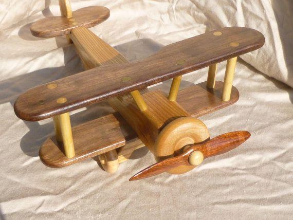 wooden bi plane airplane toy handmade by grampswoodtoys