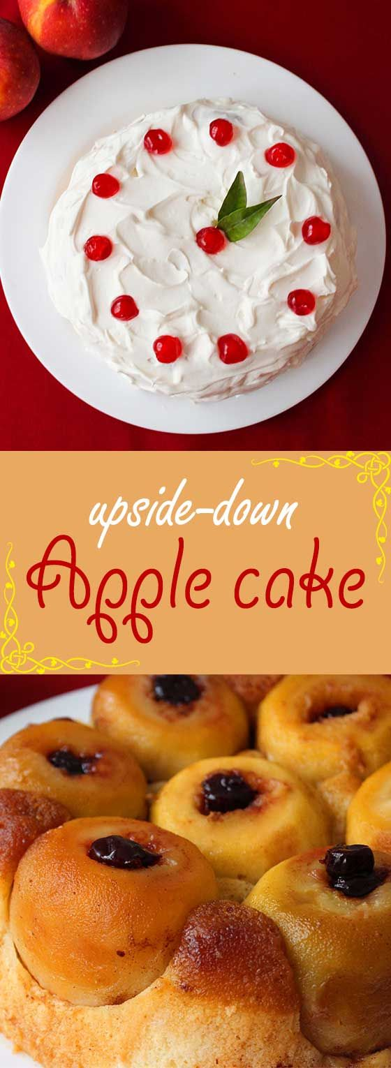 Apple upside-down cake - the apples are filled with sour cherry preserve, and you can choose to leave it plain, or top it with whipped cream.