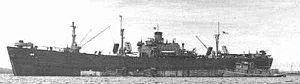 USS Porcupine (IX-126) Damaged by Kamikaze off Mindoro, Philippines Islands; scuttled by destroyer Gansevoort DD-608 30 December 1944.
