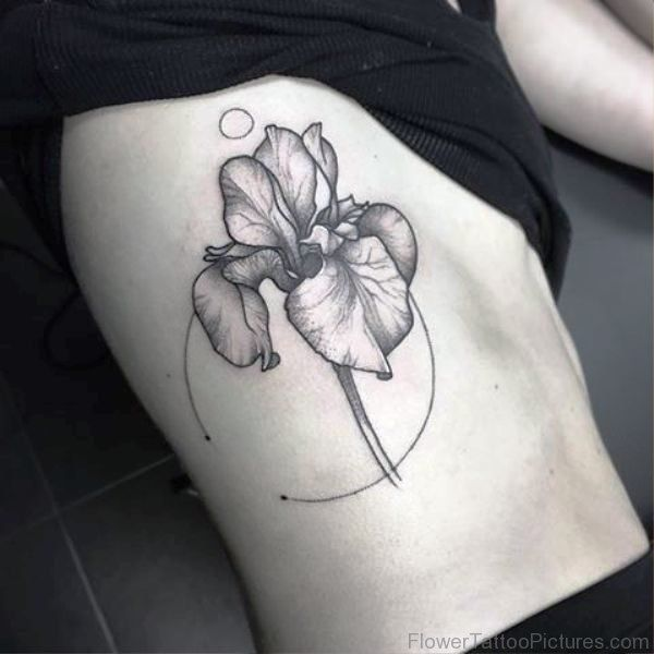 Grey Iris Flower Tattoo On Rib Iris Flower Tattoo Flower Tattoo On Ribs Iris Tattoo