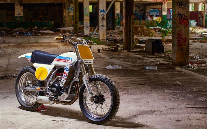 Download wallpapers KTM EXC 250 GS, 4k, Vintage Addiction, superbikes, KTM EXC 250 Dirt Track, KTM