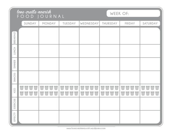 A free, printable weekly food/exercise journal!  |  LoveCreateNourish