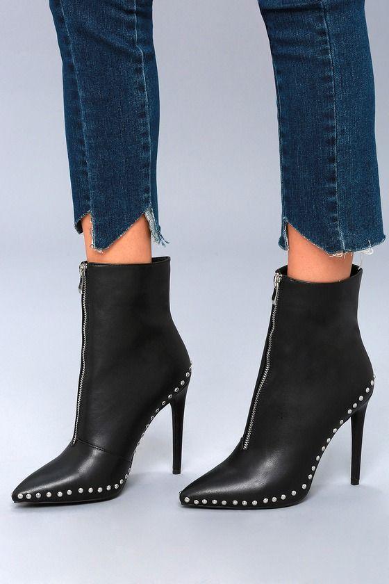 4c6295235dca Put a stylish foot forward in the Tamsin Black Studded High Heel Booties!  Sleek
