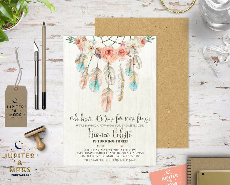Boho Chic Dream Catcher Be Brave Little One Birthday Party Pow-Wow Bridal Baby Shower Invitation (Polka Dots, Arrow, Pink Heart)DIGITAL FILE by JupiterAndMarsPrints on Etsy https://www.etsy.com/listing/234071098/boho-chic-dream-catcher-be-brave-little