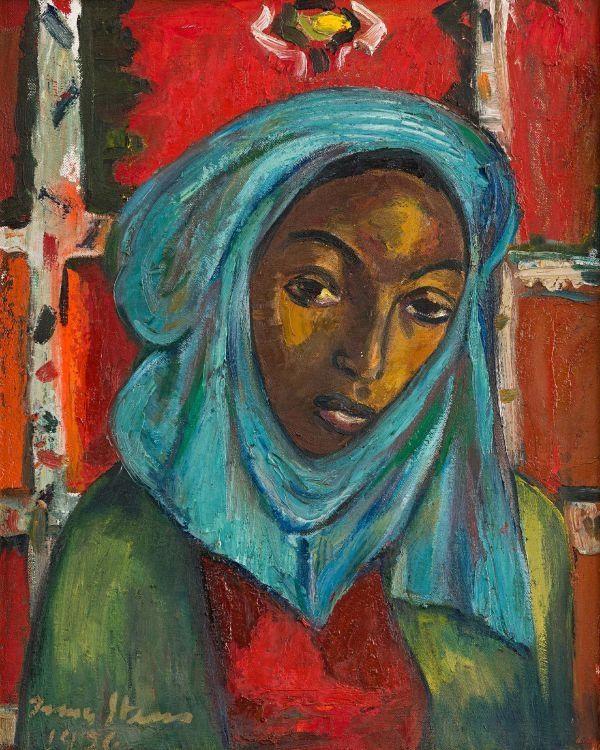 Irma Stern - Woman with Blue Head Scarf