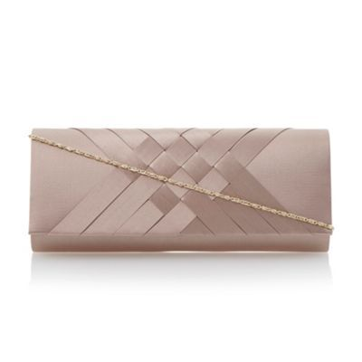 Roland Cartier Taupe satin interwoven clutch bag- at Debenhams.com
