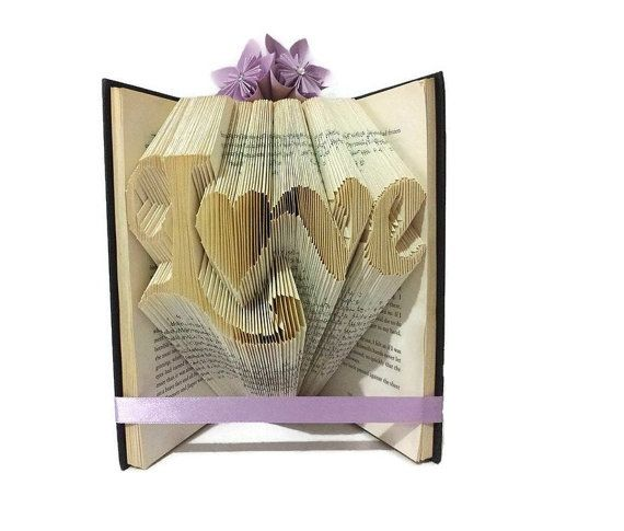 Book folding pattern for the word Love with a heart in place of the o. This book folding pattern will allow you to create your own image of the word Love in a piece of folded book art. It is available to download immediately after purchase. It will arrive as a PDF document so you can access it on any device. * You will need a hardback book that is at least 21cm tall with 444 or more pages  * This is a measure, mark and fold pattern, your PDF will contain a table of measurements needed to…