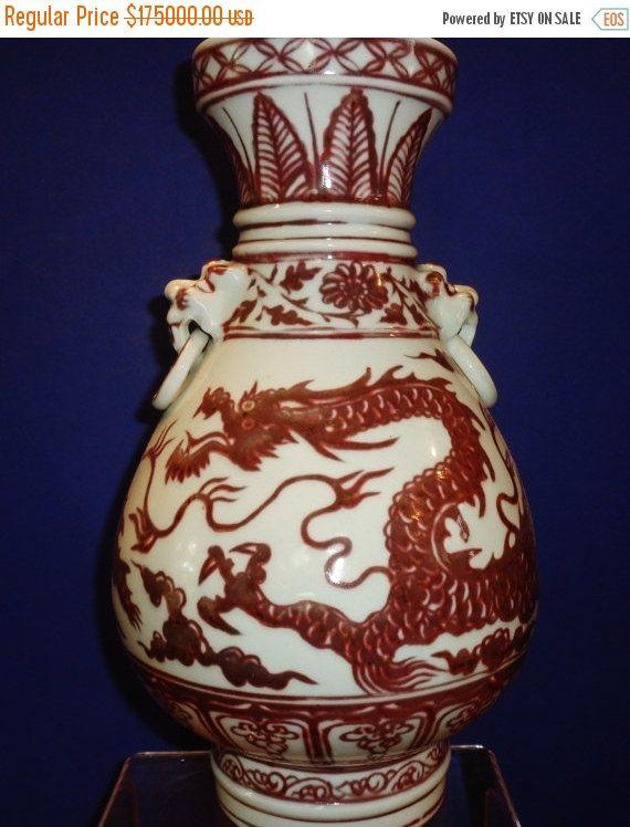 en vente 278--chinois Yuan Dy. 元代釉里红1300s Youlihong / Youligong vase en cuivre rouge en porcelaine fine sculptée et moins émaillée cuivre dragon rouge