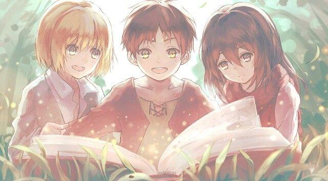 Young eren, mikasa, armin