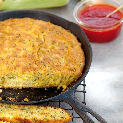 Corn bread in a skillet