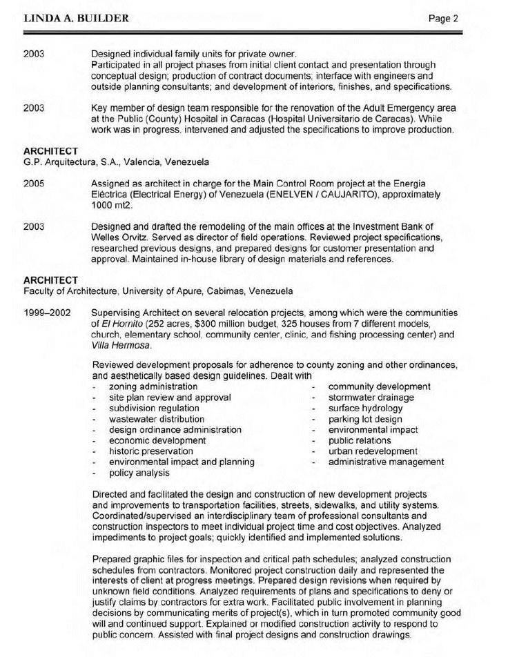 resume architect sample - Google Search 简历模板 Pinterest - resume presentation