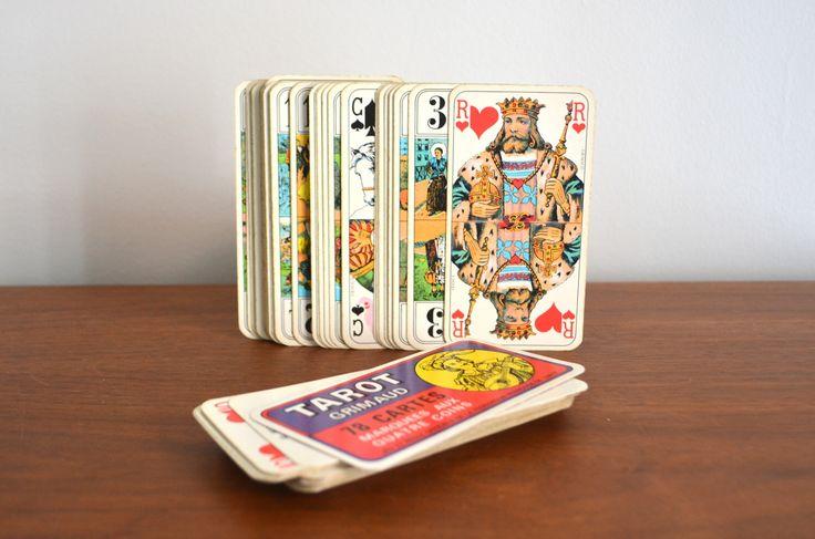 Vintage Grimaud francés Le Renouveau du Tarot tarjetas. Baraja de Tarot de 78 cartas. Juego de cartas francés. Juego oficial de Tarot de catbedoven en Etsy https://www.etsy.com/es/listing/502406002/vintage-grimaud-frances-le-renouveau-du
