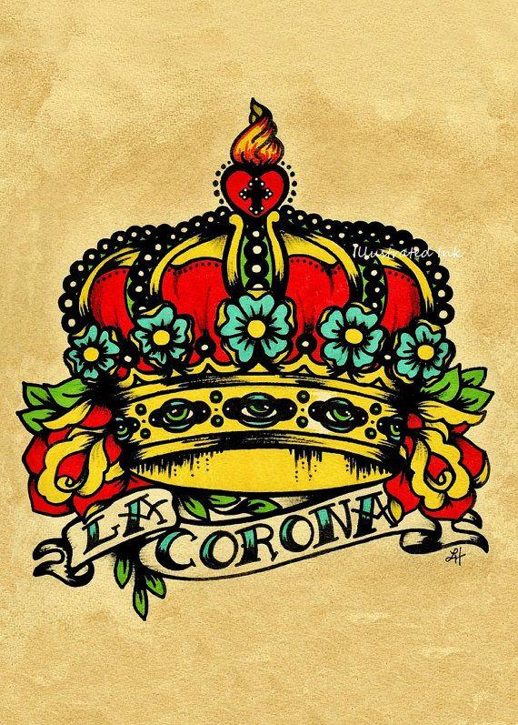 Old School Tattoo Crown Art LA CORONA Loteria Print 5 x 7. $10.50, via Etsy.