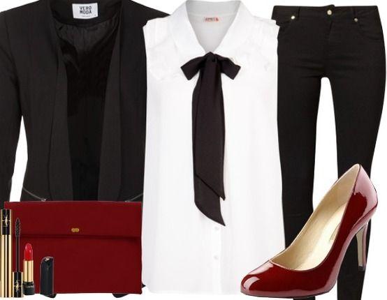 Businessoutfit mit Lacklederpumps ♥ Hier kaufen: http://www.stylefruits.de/businessoutfit-i-make-you-crazy/o2910585 #Lackleder #Schleife #business