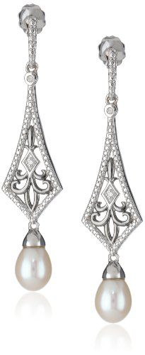 Sterling Silver Freshwater Cultured Pearl and Diamond Art Deco Drop Earrings