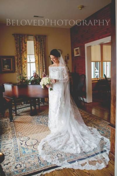 off the shoulder lace dress and cathedral veil