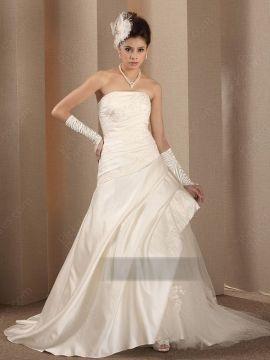 A-line ,Strapless , Ivory , Wedding Dress