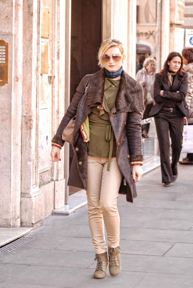 Olive Blouse Shoe Combo Paired With Off White Jeans Asymmetrical Leather Trench