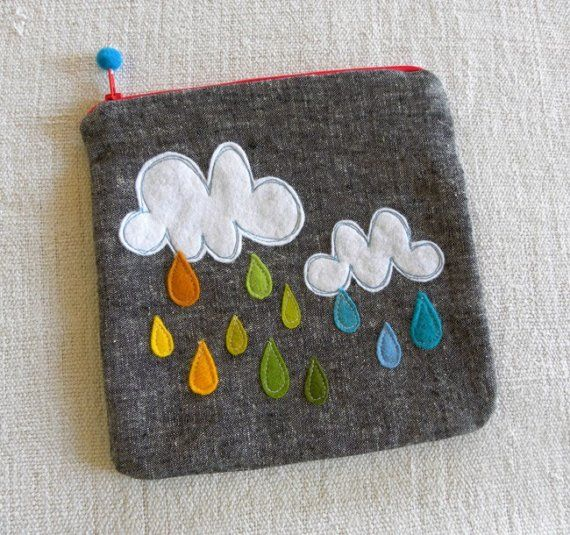 felt cloud and rain wallet