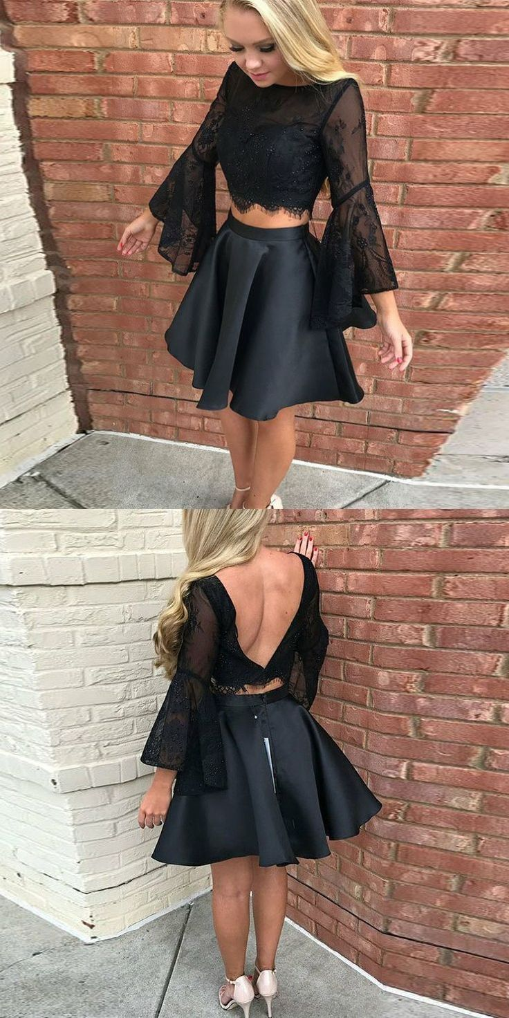 two piece black short homecoming dresses, 2 piece bell sleeves short prom dresses, backless short semi formal dresses with long sleeves #HomecomingDress #shortsemiformaldresses