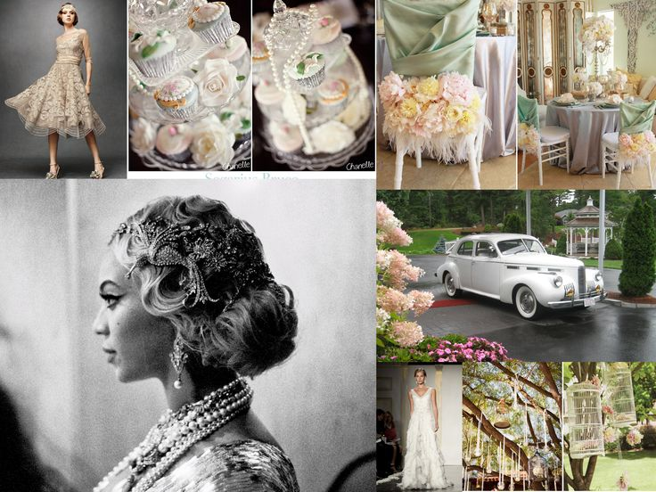 Great Gatsby Wedding Collage: Beautiful Vintage Hairstyle Is A Must For The  Bride To Be.