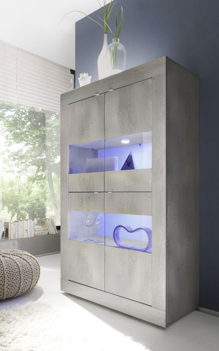 Moderne vitrinekast Basic Grey uitgevoerd in de kleur Grijs eiken