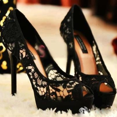 love a black lace shoe | More lace here: http://mylusciouslife.com/pictures-of-lace/