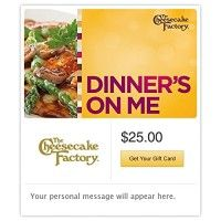 The Cheesecake Factory Dinner's on Me Yellow Gift Cards - E-mail Delivery http://themarketplacespot.com/wp-content/uploads/2015/11/51vrZD-HnbL-200x200.jpg   The Cheesecake Factory offers more than 200 menu selections including steaks, pastas, specialty salads, pizzas and fresh fish. Don't forget to save room for one of their more than 50 decadent cheesecakes and desserts.   Read  more http://themarketplacespot.com/gift-card/the-cheesecake-factory-dinners-on-me-yellow-gift-car