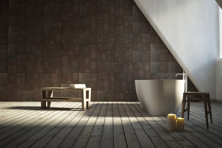 A renewed bathroom: old wood on floor, Lapèlle leather tiles on the frontal wall. (LUNA collection http://www.lapelledesign.com/collections/luna-eng/)