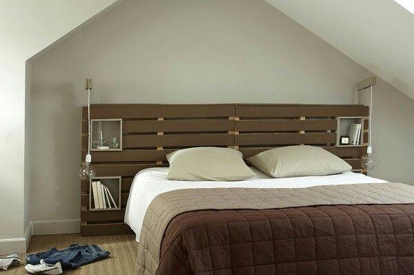 Tete de lit en palettes de bois wood pallet ideas - Tete de lit palette bois ...