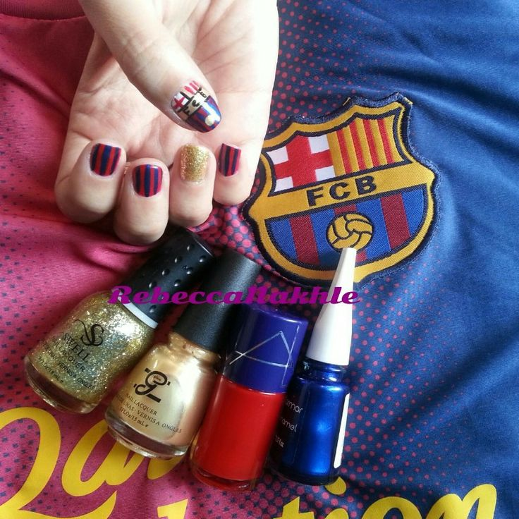 With all due respect to Real Madrid Fans, I'm with FC Barcelona and I wanted to support them MY OWN WAY... FC Barcelona Nails using Alma #50, Flormar #433, Glane #38 and Swell Glitter Polish (with no name or number)