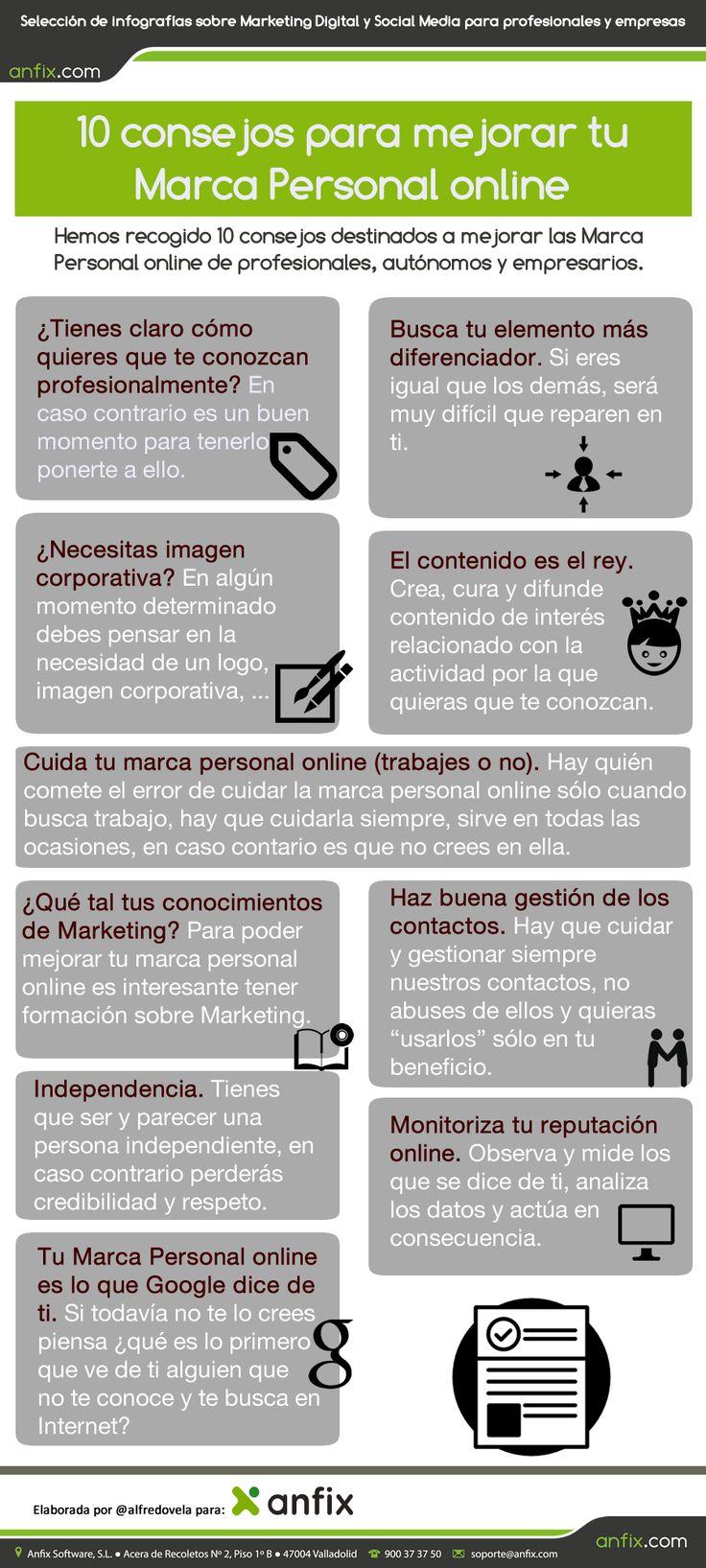 10 consejos para mejorar tu marca personal online. Infografía en español. #CommunityManager