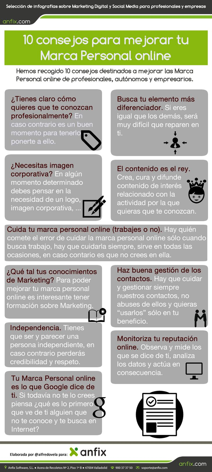 10 consejos para mejorar tu Marca Personal online [infografía] - anfix.tv
