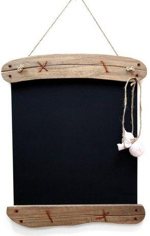 Driftwood Memo Blackboard ~ Shabby Chic Hanging Chalkboard 28 X 39Cm