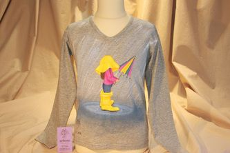 Hand painted t shirt  | Umbrella Girl | I use non-toxic, water based, permanent fabric colors.