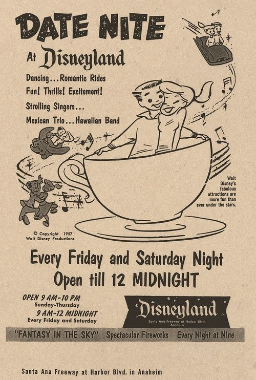 Date Nite at Disneyland.  Great vintage ad from 3 years after the park opened.  Freddy Moore-styled teens in the ad are an interesting choice since Moore fell out of favor with Walt after he helped unionize the studio.